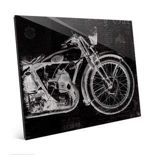 Vintage Motorcycle Black Wall Art Print on Glass