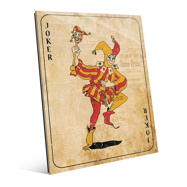Vintage Joker Playing Card Wall Art Print on Glass - Free Shipping ...