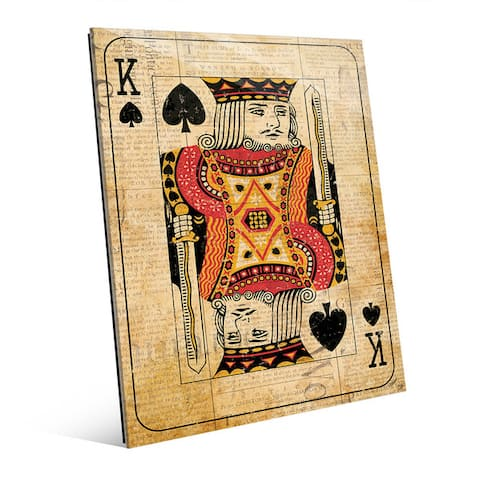Vintage King Red Playing Card Wall Art Glass Print