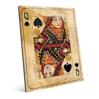 Vintage Queen Playing Card Wall Art Glass Print (2 options available)