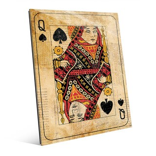 Vintage Queen Playing Card Wall Art Glass Print