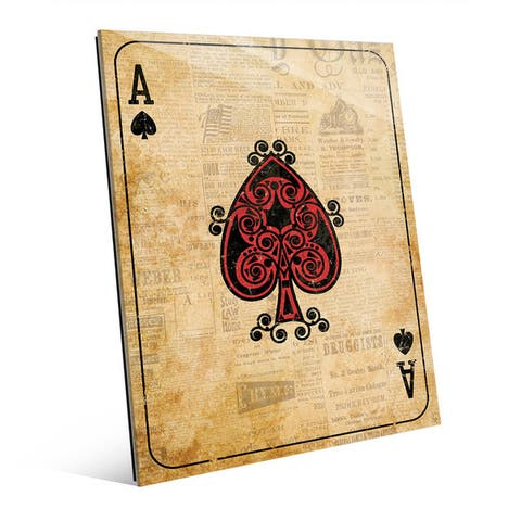 Vintage Ace Red Playing Card Wall Art Glass Print