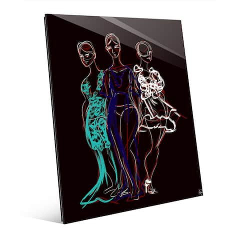 Fashionista Trio Red Sketch Wall Art Glass Print