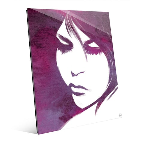 Violet Lit Woman's Face Wall Art Print on Glass