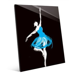 Cyan Ballerina Wall Art Print on Glass