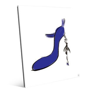 Indigo High Heel Wall Art Print on Glass
