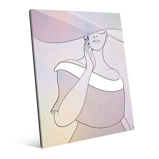 Lavender Woman with Hat Wall Art Print on Glass