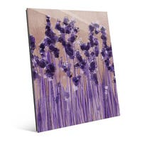 Lavender Blossoms in a Row Wall Art Print on Glass