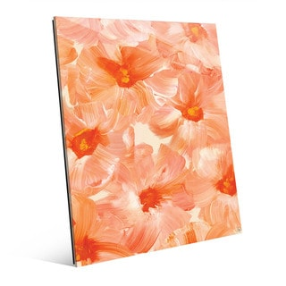 Brush Flowers in Orange Wall Art Print on Glass