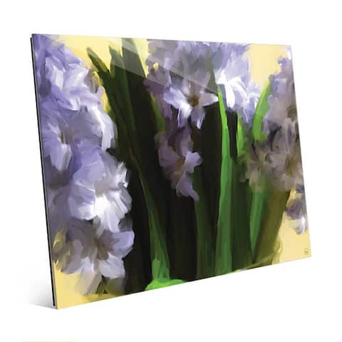 Purple Vase of Hyacinth Flowers Wall Art on Glass