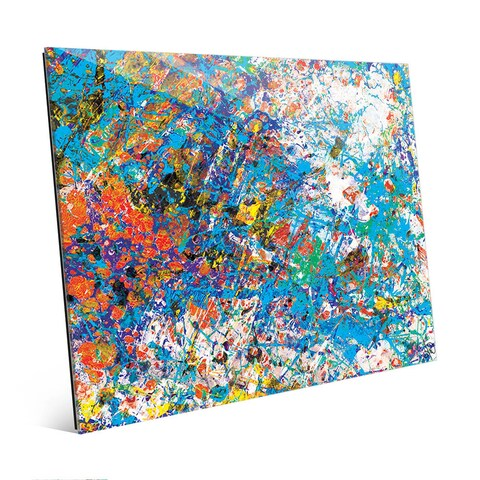 Mock Cerulean Abstract Wall Art Print on Glass