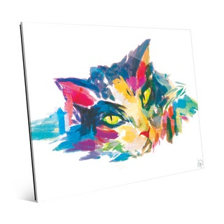 Watercolor Cat in Blue Wall Art Print on Glass