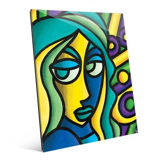 Colorful Thoughts Woman Wall Art Print on Glass
