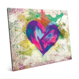 Up Beat Violet Abstract Heart Wall Art Glass Print