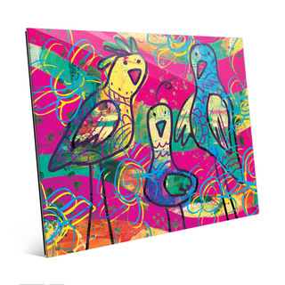 Wild Birds Pink Pop Art Wall Art Print on Glass