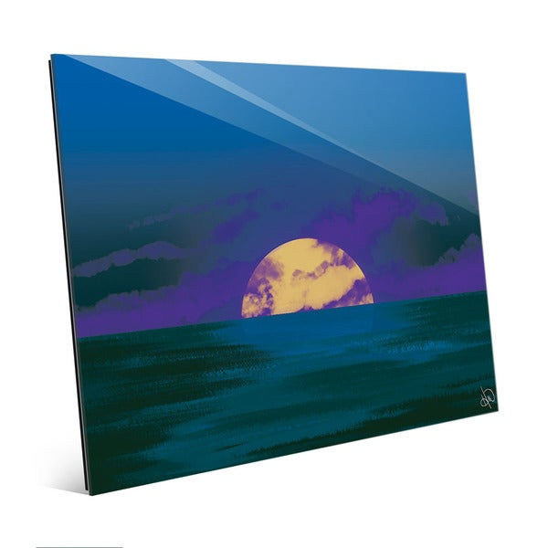 Cobalt Tinted Seascape Sunset Wall Art on Glass