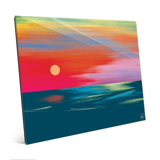Scarlet Seascape Sunset Wall Art Print on Glass