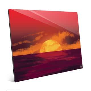 Amber Star Seascape Sunset Wall Art Print on Glass