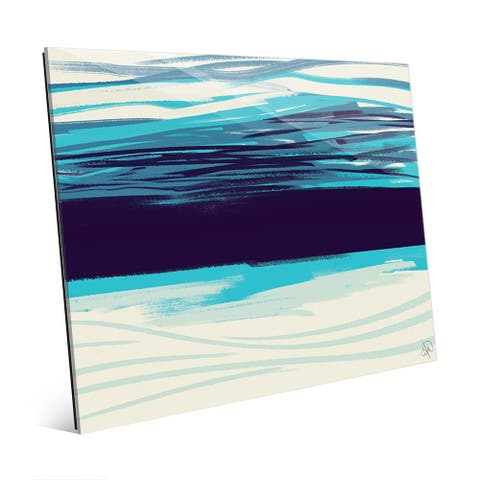 Cyan Abyss Abstract Painting Wall Art on Glass