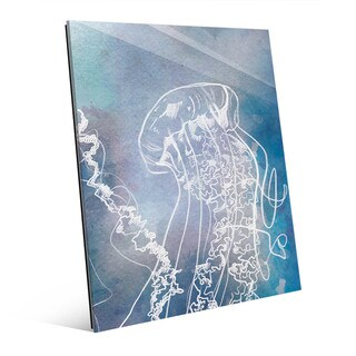 Close Up Jellyfish in Blue Wall Art Print on Glass