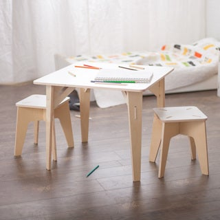 Wooden Kids Table and Stools - White