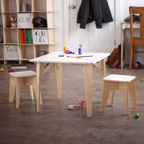 Wooden Kids Table And Stools White Free Shipping