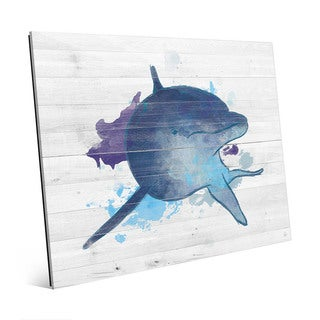 Painted Watercolor Dolphin Wall Art Print on Glass