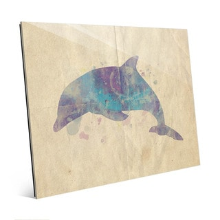 Dolphin Watercolor Wall Art Print on Glass