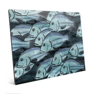 School Of Fish -Dark Blue Wall Art Print on Glass