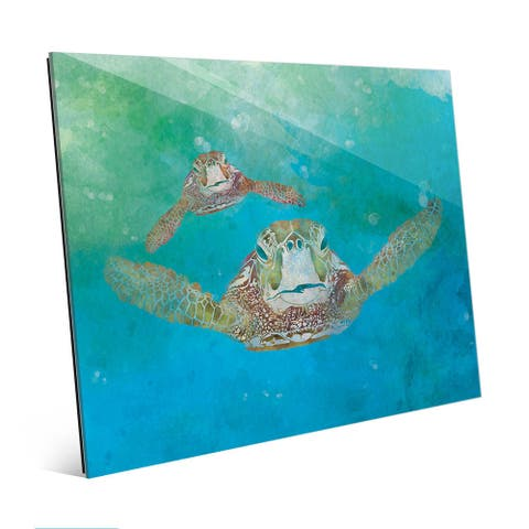 2 Sea Turtles Swimming Wall Art Print on Glass