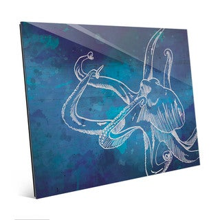 Octopus Swimming on Blue Wall Art Print on Glass