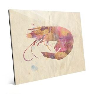 Fancy Watercolor Shrimp Wall Art Print on Glass