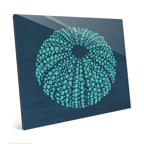 Urchin Dots in Teal Blue Wall Art Print on Glass