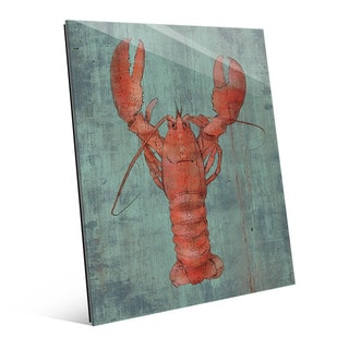 Lobster in Red Wall Art Print on Glass
