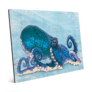 Dat Cool Blue Octopus Wall Art Print on Glass