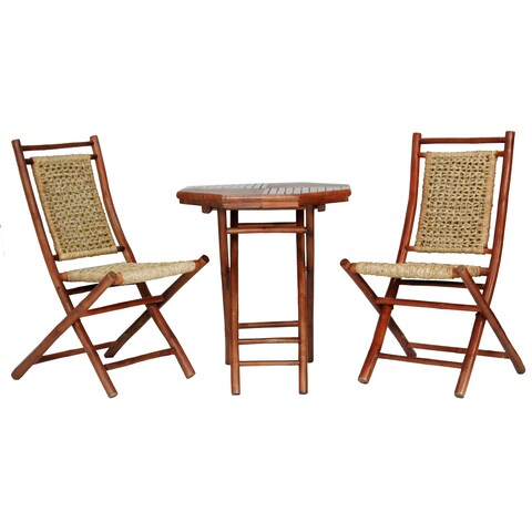 Maui Brown Bamboo/Seagrass 3-piece Indoor/Outdoor Bistro Set