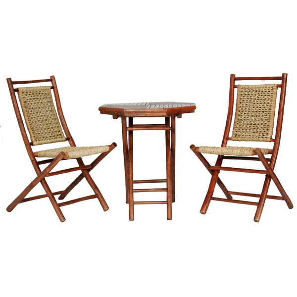 Maui Brown Bamboo Seagr 3 Piece Indoor Outdoor Bistro Set