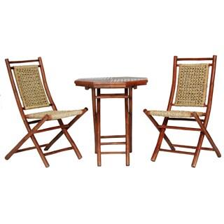 Maui Brown Bamboo/Seagrass 3-piece Indoor/Outdoor Bistro Set