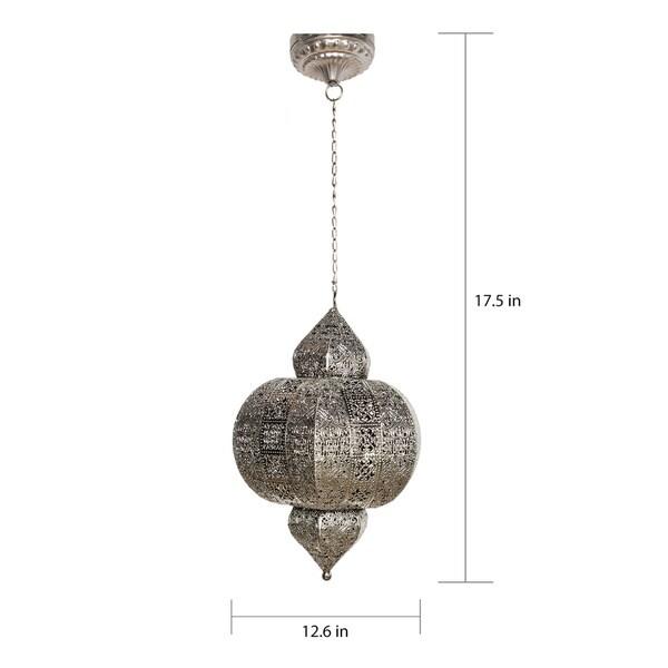 Massapequa 17.5-inch Round Silvertone Stamped Metal LED Lantern by Havenside Home