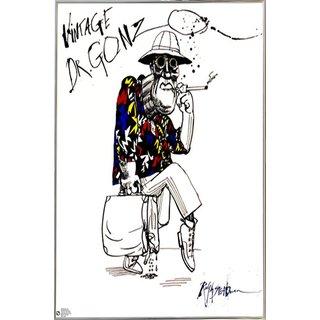 Ralph Steadman - Dr Gonzo Poster in a Silver Metal Frame (24x28)