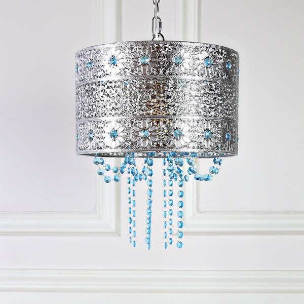 Tracy Porter Poetic Wanderlust Mattei Jeweled Metal Hanging Lamp with Cascading Crystals