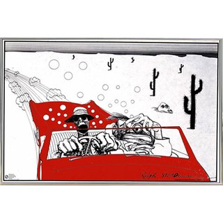 Ralph Steadman - Fear & Loathing Poster in a Silver Metal Frame (36x24)