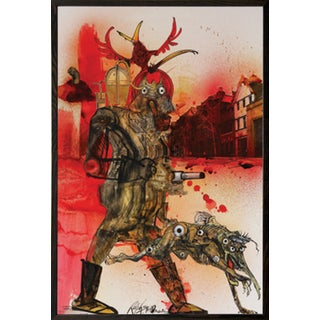 Ralph Steadman 'Hell Hound Fahrenheit 451' Walnut Wood Framed Poster