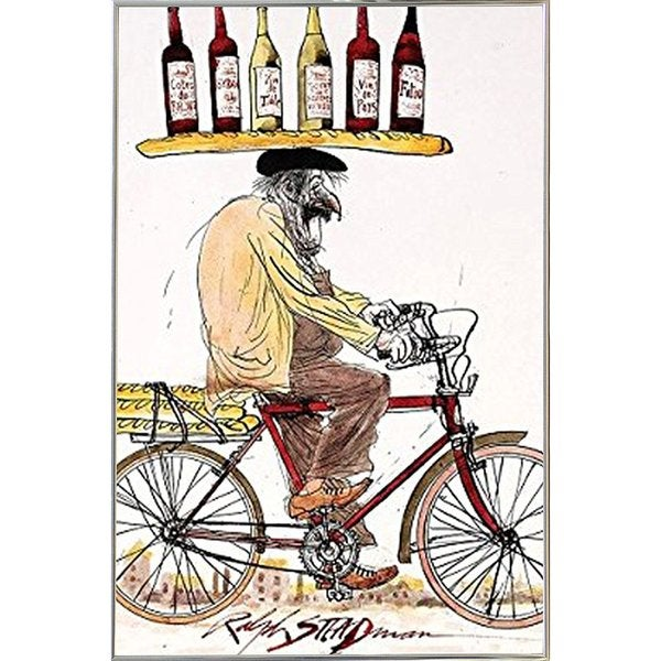 Ralph Steadman - Wine Poster in a Silver Metal Frame (24x30) - Free ...