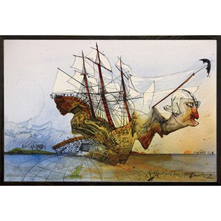 Ralph Steadman 'Curse of Lono' Walnut Wood Framed Poster