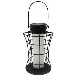 Alpine Corporation Multicolored Metal Solar Cylinder Lantern with 10 Warm White LED Lights