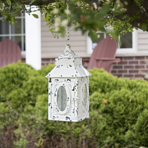 "12""H Punched Metal Lace Cordless LED Outdoor Lantern - White"
