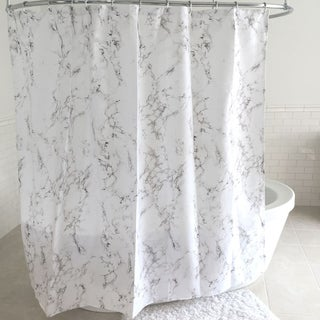 Marble Fabric Shower Curtain and Hooks Set or Separates