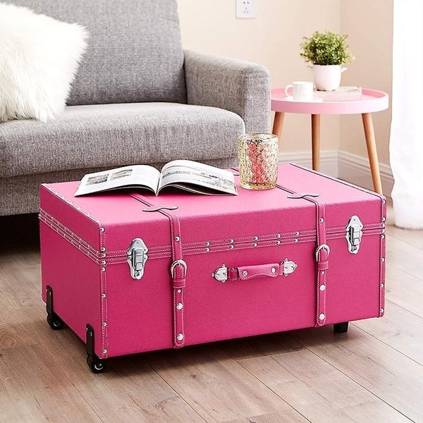 The Designer Wheeled Trunk - Cherry Pink