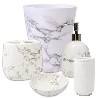 Marble 5 Piece Bath Accessory Set or Separates